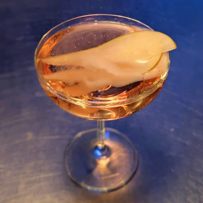 Bitter Pear Champagne Cocktail