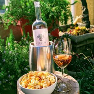 Rosé Wine and Caramel Popcorn