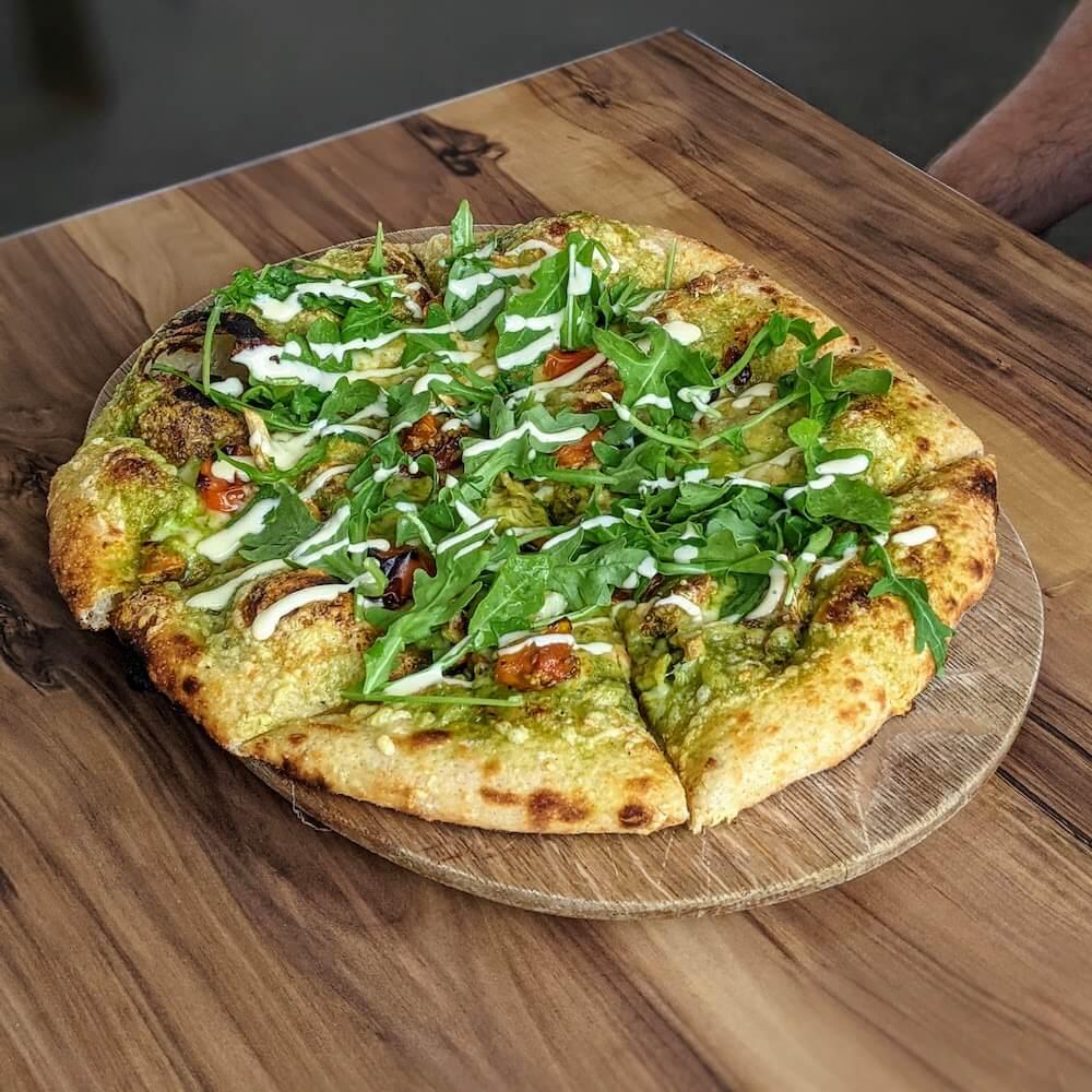Roasted Mushroom and Arugula Pesto Pizza